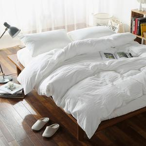 solid white cotton duvet cover set washed cotton Queen / Double / King Size bedding sets - Flickdeal.co.nz