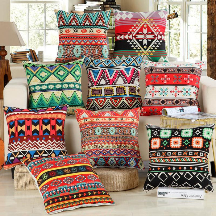 Cushion Covers - Boho Bohemian Style Cotton Cushion Cover Decorative Pillowcase 40149
