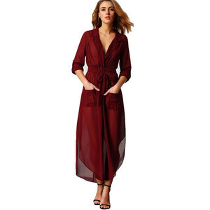 V -Neck Self-Tie Pockets Chiffon Long Dress For Women - Flickdeal.co.nz