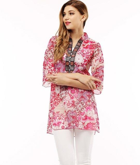 Women's Top - Embroidery Chiffon Lantern Sleeve Blouse - 5 Designs