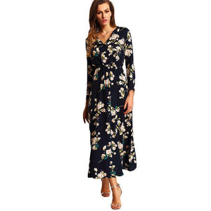 SheInes Women Maxi Dresses Navy Round Neck Long Sleeve Women Fashion With Button Floral Long Dress - Flickdeal.co.nz
