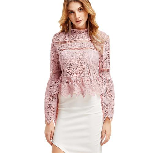 SheInes Long Sleeve Top for Women Long Sleeve Women Shirts Women Fashion Pink Lace Flare Sleeve - Flickdeal.co.nz
