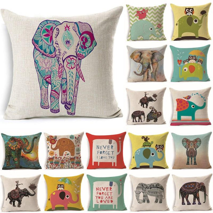 Cushion Covers - 43*43cm Lovely Owl Elephant Pattern Cotton Cushion Cover 40239