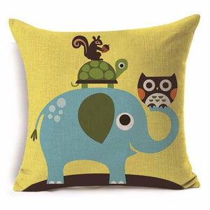 Cushion Covers - 43*43cm Lovely Owl Elephant Pattern Cotton Cushion Cover 40239 - Flickdeal.co.nz