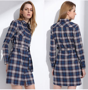 Women's Plaid Shirt Long Sleeve Ladies Tunic Top - 4 designs - Flickdeal.co.nz