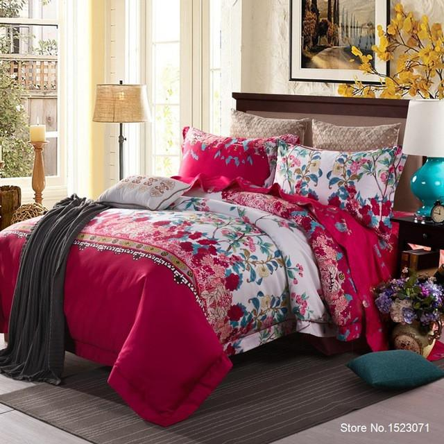 4 Pcs Egyptian cotton Floral bedding Duvet Cover set with Sheet and Pillow Cases