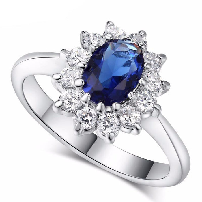 Crystal Ring Blue Gem Created Blue Crystal Silver Color Wedding Crystal Ring Jewelry for Women