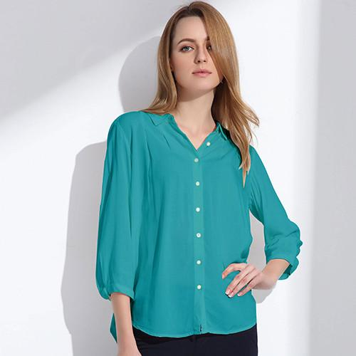 Women's Blouse Three Quarter Sleeve Doll Collar Clothing - 6 Colors
