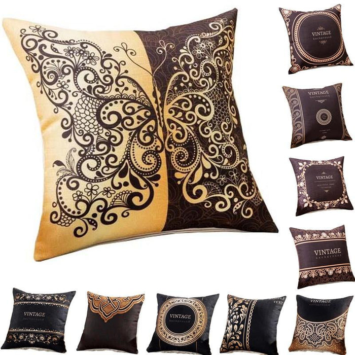 Vintage Butterfly Brown Black Cotton Cushion Cover Decorative Pillowcase 40151