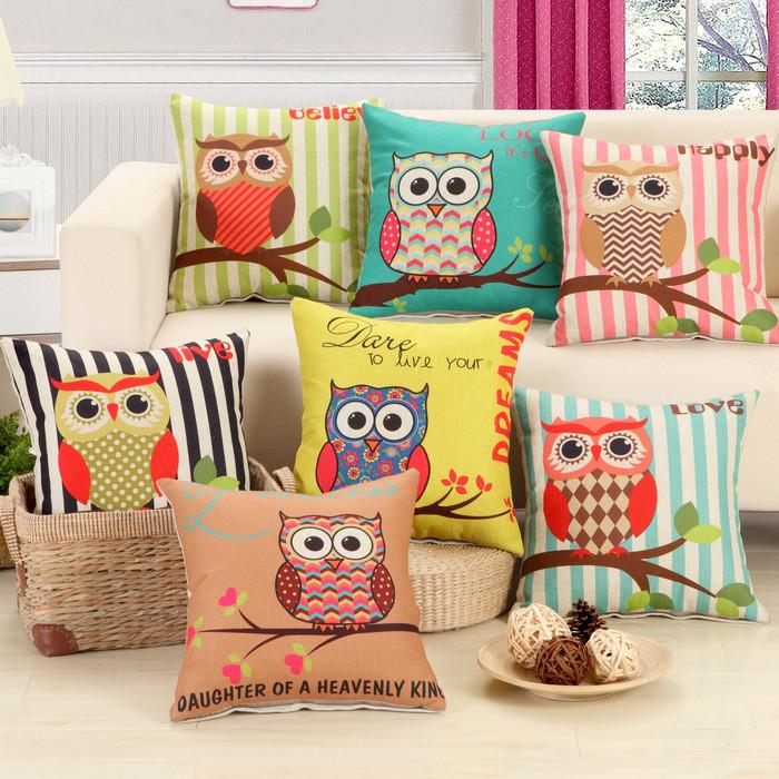 Striped Branch Owl Pattern Cushion Cover Pillowcase 40108 - Flickdeal.co.nz