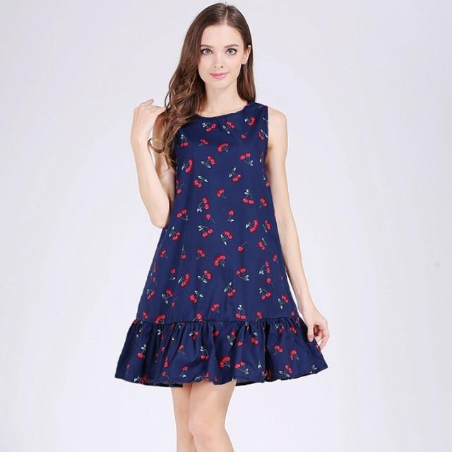 Women's Sleeveless Cotton Ruffles Printed Dress - 14 Designs - Flickdeal.co.nz