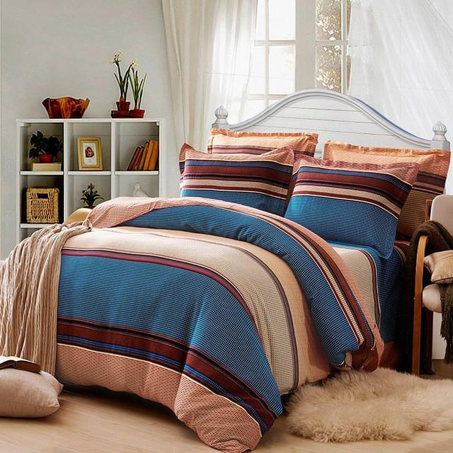 Cotton Stripe Bedding Set with duvet cover sheet and pillow cases - 18 designs - Flickdeal.co.nz