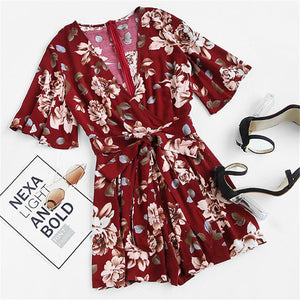 SheInes Womens Jumpsuits Summer Ladies V Neck Short Sleeve Floral Tie Waist Casual Jumpsuit - Flickdeal.co.nz