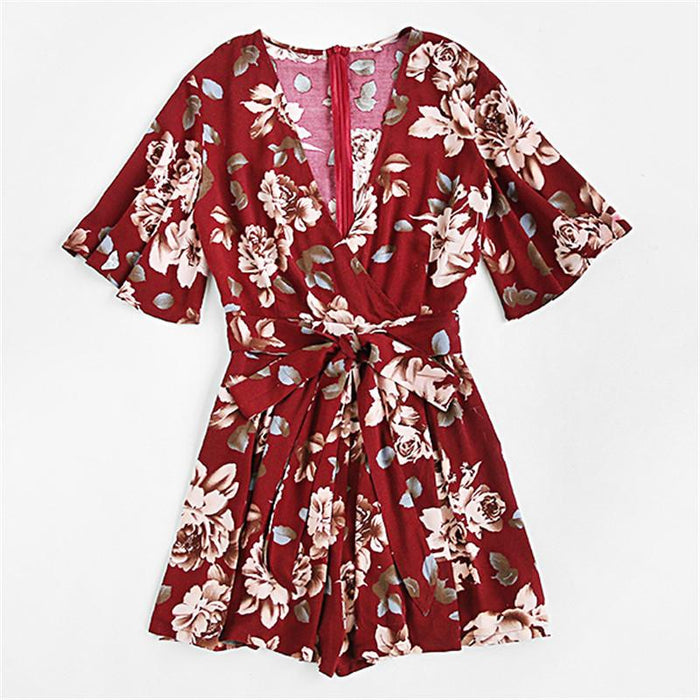 SheInes Womens Jumpsuits Summer Ladies V Neck Short Sleeve Floral Tie Waist Casual Jumpsuit