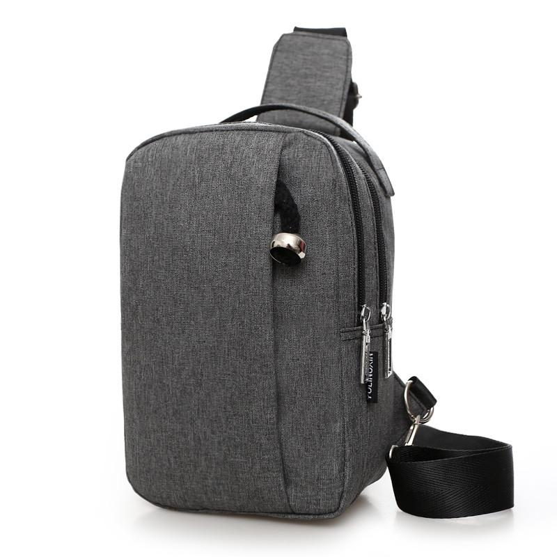 Men Canvas Chest Backpack Casual Crossbody Sling Messenger Bags Vintage Male Travel Shoulder Bag - Flickdeal.co.nz