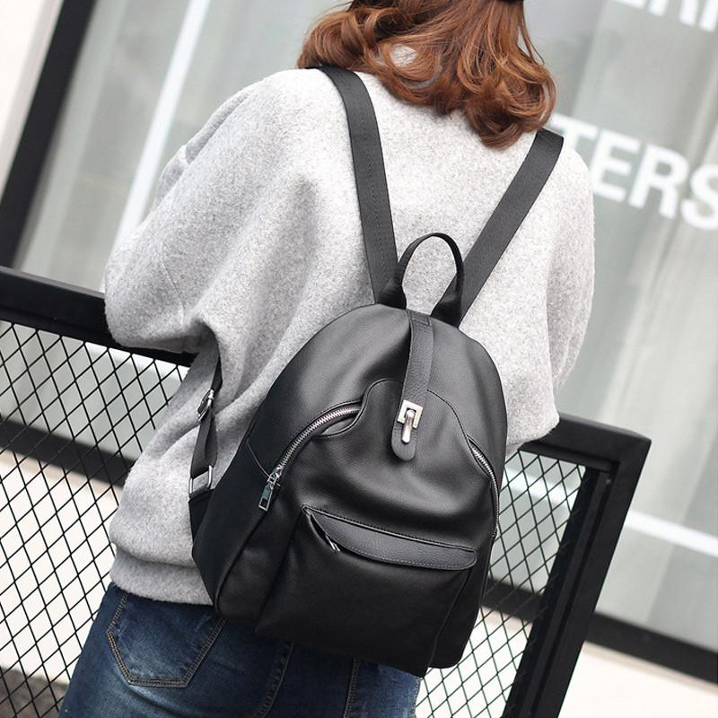PU Leather Women's Backpack Casual Travel Bags Schoolbag Tote Bag - Flickdeal.co.nz