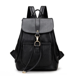 School Bags for Teenage Girls Women Backpacks Fashion Ladies PU Leather Backpack - Flickdeal.co.nz