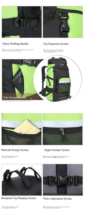 Waterproof Nylon Men Backpacks Women Mountaineering Bag 45L - Flickdeal.co.nz