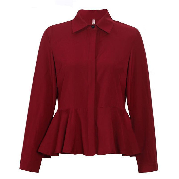 New Fashion Collar Long Sleeve Chiffon Blouse White and  Red Women Casual Shirts