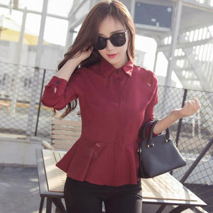 New Fashion Collar Long Sleeve Chiffon Blouse White and  Red Women Casual Shirts - Flickdeal.co.nz