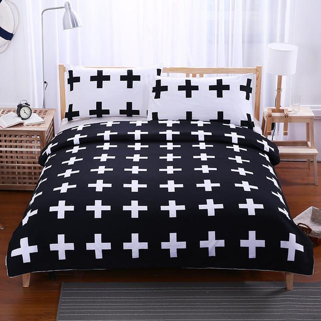 Black and White Crosses Bedding Set Super Soft Duvet Cover with Pillowcases - Flickdeal.co.nz