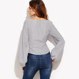 SheInes Women Blouses Black and White Striped Long Sleeve Womens Tops - Flickdeal.co.nz
