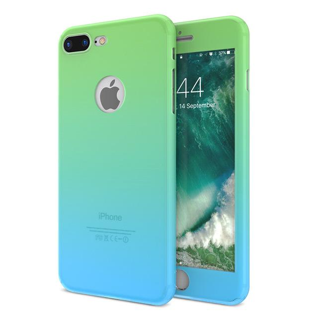 Cover Cases For iPhone 6S 7 Plus With Glass Screen Protector Gradient Color 360 Degree Full Body Protection - Flickdeal.co.nz