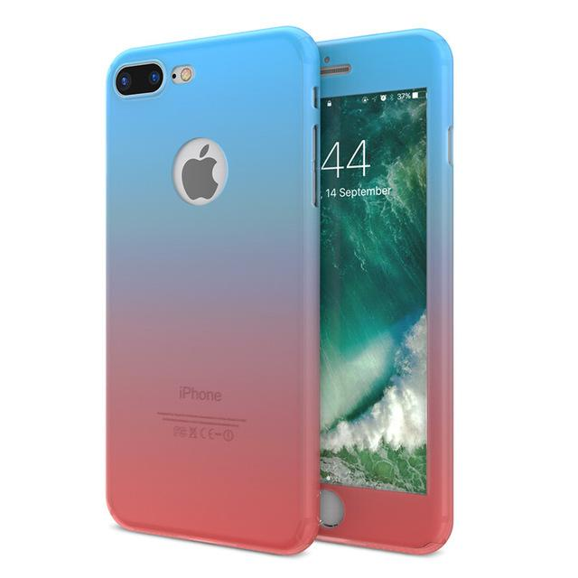 Cover Cases For iPhone 6S 7 Plus With Glass Screen Protector Gradient Color 360 Degree Full Body Protection