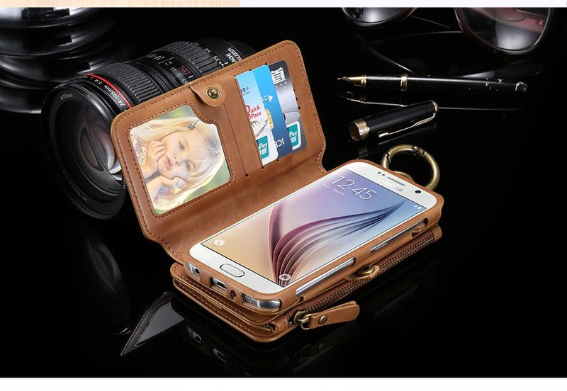 Retro Leather Phone Case For Samsung Galaxy NOTE 3 4 5 / S7 / S6 edge plus Case Metal Ring+Wallet Cover - Flickdeal.co.nz