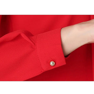 Red Black White Chiffon Blouse Women Long Sleeve Elegant Ladies Office Shirts - Flickdeal.co.nz