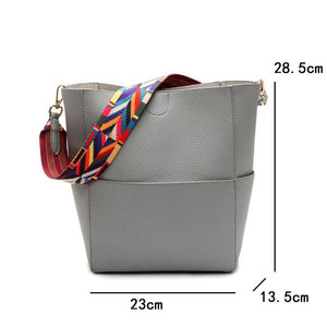 Designer Bucket bag for Women PU Leather Wide Color Strap Handbag Shoulder bag - Flickdeal.co.nz