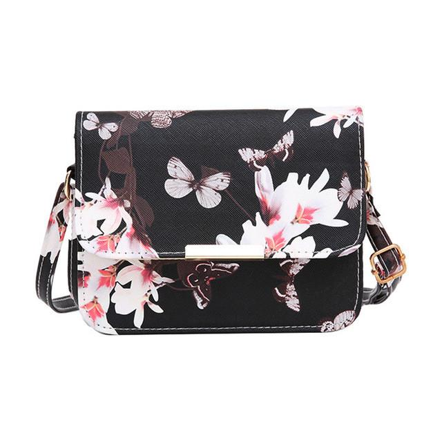 Luxury Women Bags - Small Satchel bag Flower Butterfly Printed Shoulder Bag - Flickdeal.co.nz