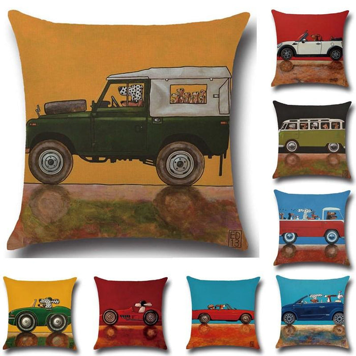 Cartoon Car Bus Pattern Cotton  Throw Pillow Cushion Cover - 40173