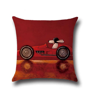 Cartoon Car Bus Pattern Cotton  Throw Pillow Cushion Cover - 40173 - Flickdeal.co.nz