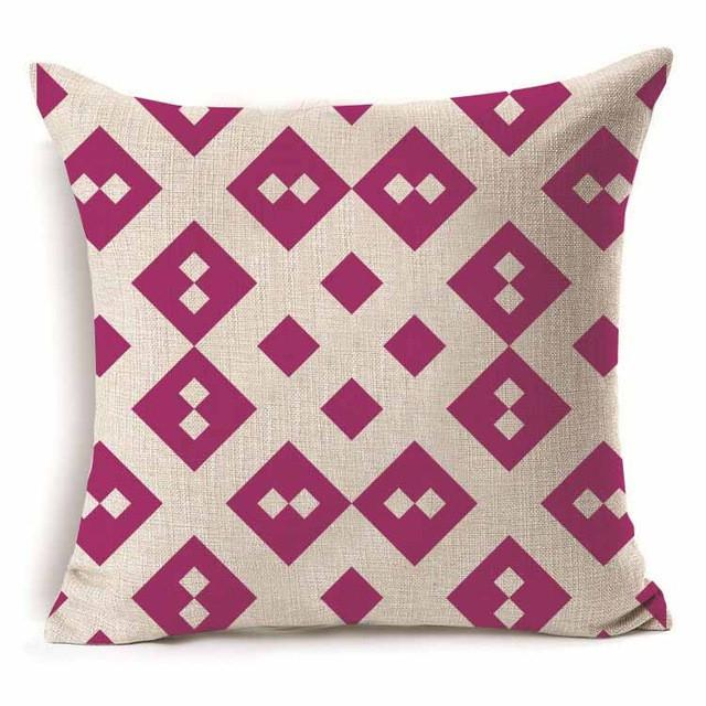 45*45cm Geometric Pattern Cotton Throw Pillow Cushion Cover - 40229 - Flickdeal.co.nz