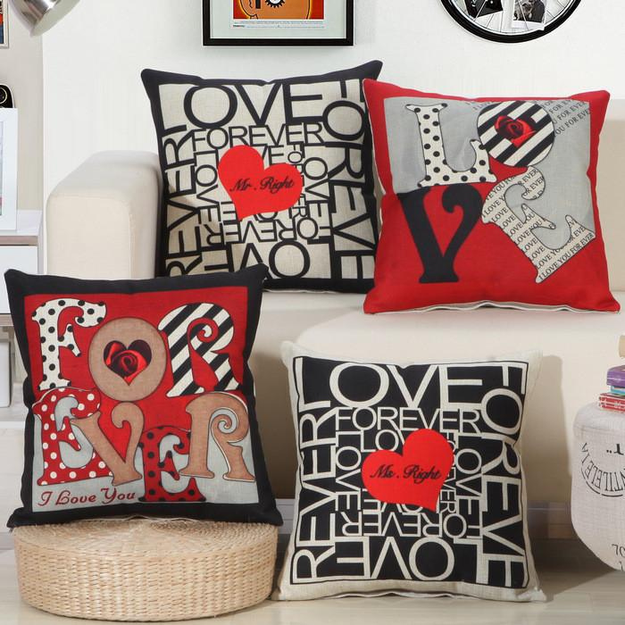 Cushion Covers - Black Red Love Pattern Cushion Cover Pillowcase 40137
