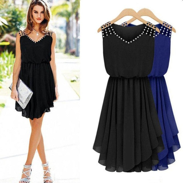 2018 Summer Chiffon Dress Womens Elegant Party Evening Sleeveless Dresses Fashion Knee-Length Beach wear Dresses - Flickdeal.co.nz