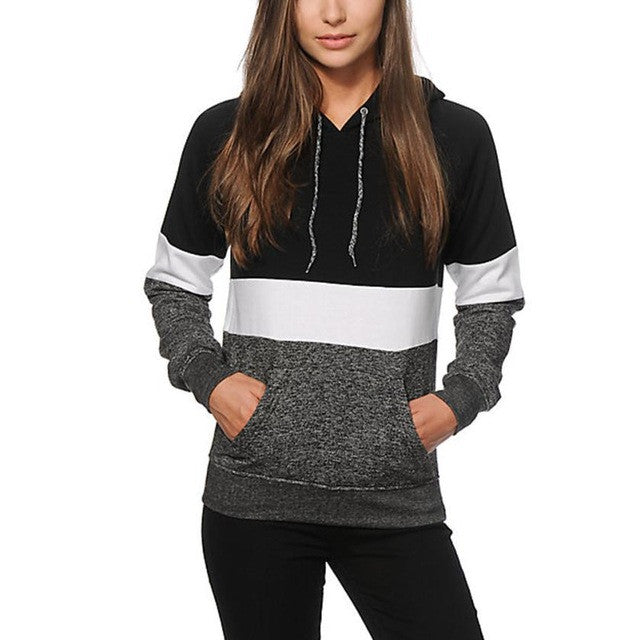 Black Blouse Women New 2016 Autumn Winter Long Sleeve Patchwork Hooded Top Blouse Sweatshirt 100%Cotton - Flickdeal.co.nz