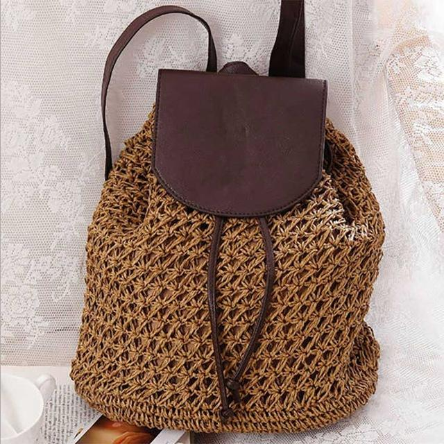 Drawstring Straw Bag Hollow Out School Bag Knitting Backpacks for Women-4 Colors - Flickdeal.co.nz