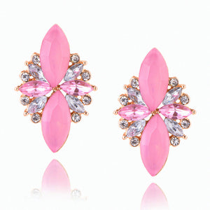 Trendy Pink Stones CZ Earrings For Womens Round Cubic Zirconia Crystal Gold Studs Earings Red er45