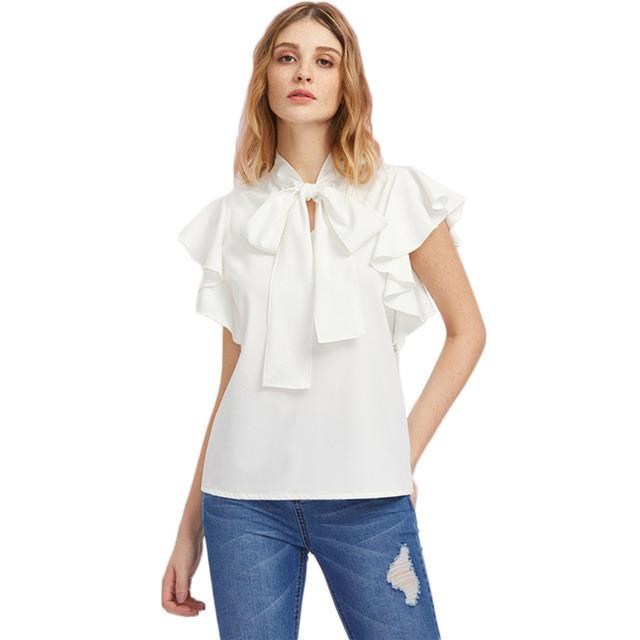 SheInes Bow Tie Front Flutter Sleeve Blouse Summer Blouses for Women White Cap Sleeve Tie Neck Blouse