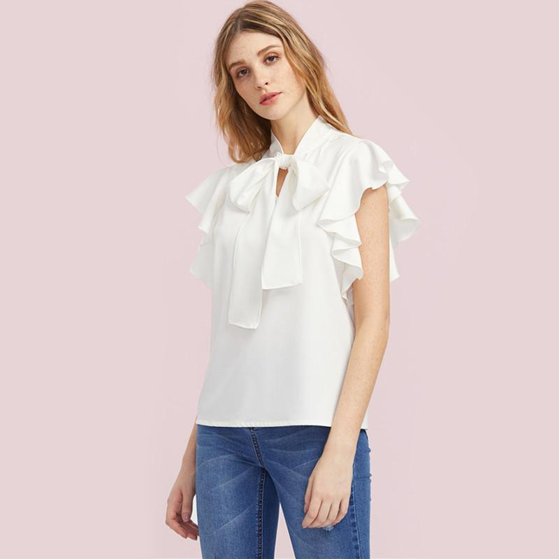 SheInes Bow Tie Front Flutter Sleeve Blouse Summer Blouses for Women White Cap Sleeve Tie Neck Blouse - Flickdeal.co.nz