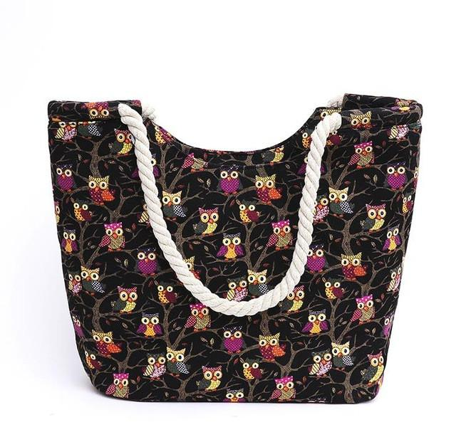 Canvas Floral Printing Shoulder Beach Bags Tote Shopping Bag -29 Designs