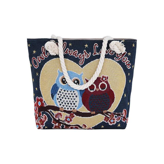 Women Beach Bag Casual Totes Canvas Large Capacity Shopping Bags Cute Owl Printing