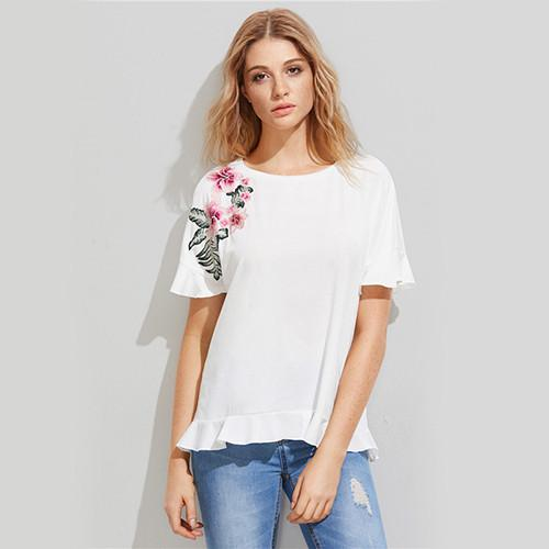 White Floral Patch Frill Short Sleeve Women T-shirts Tops