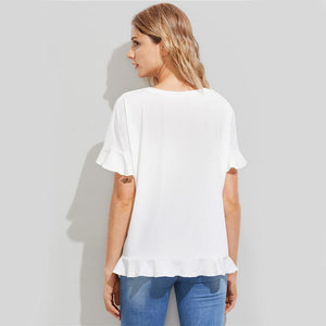 White Floral Patch Frill Short Sleeve Women T-shirts Tops - Flickdeal.co.nz