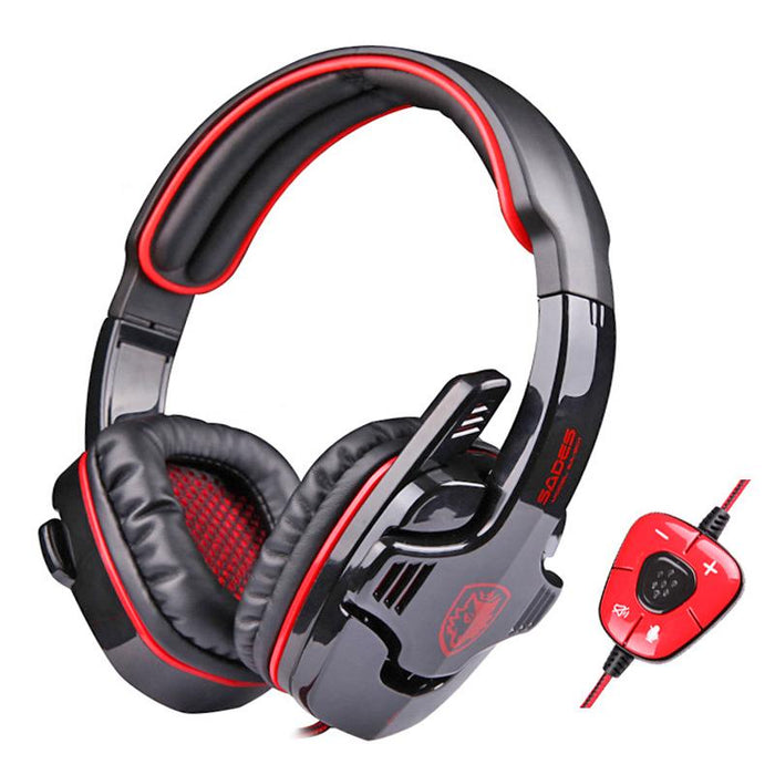 Gaming Headphone Virtual Surround Sound USB PC Stereo Game Headset With External USB Sound Card & Microphone