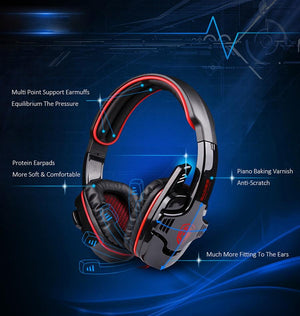 Gaming Headphone Virtual Surround Sound USB PC Stereo Game Headset With External USB Sound Card & Microphone - Flickdeal.co.nz