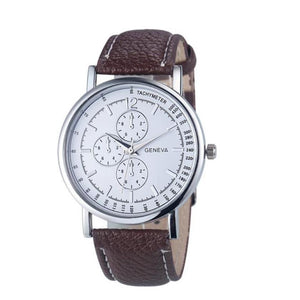 Fashion Men Diamond Analog Quartz Leather Wrist Watch