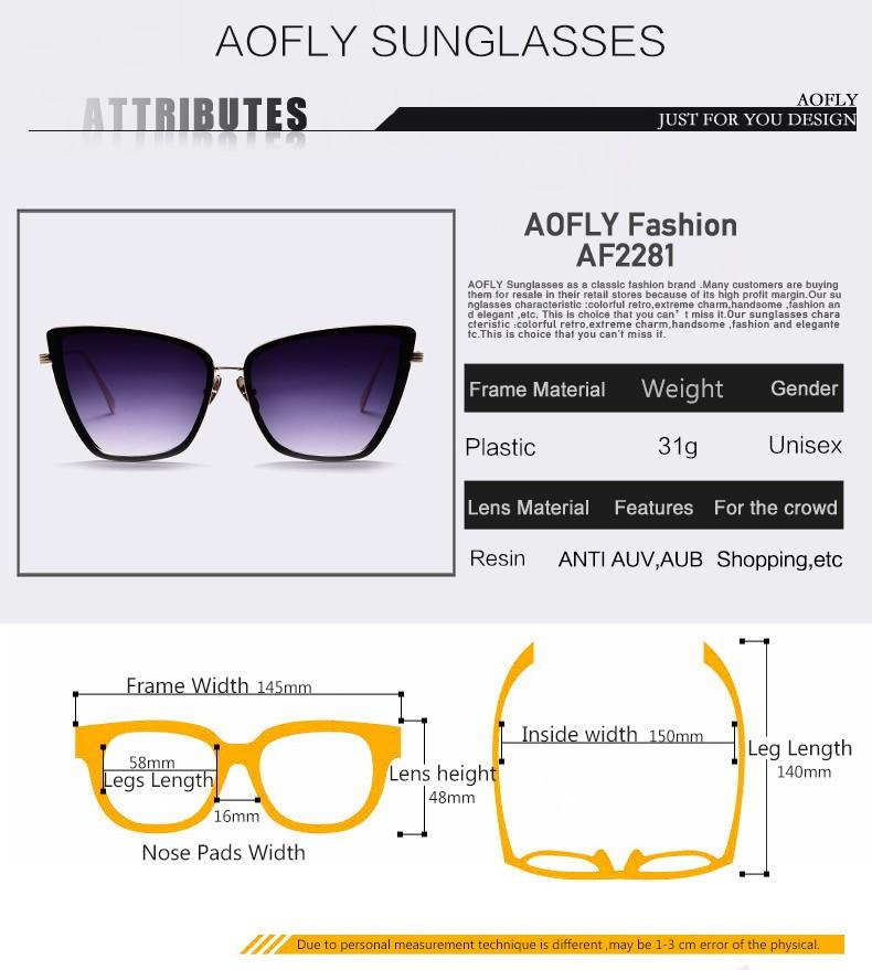 AOFLY New Fashion Women Sunglasses Square Style Anti-Reflective UV400 - Flickdeal.co.nz